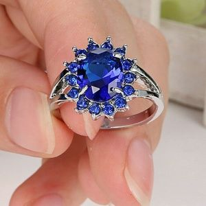 Blue Sapphire CZ 10Kt White Gold Filled